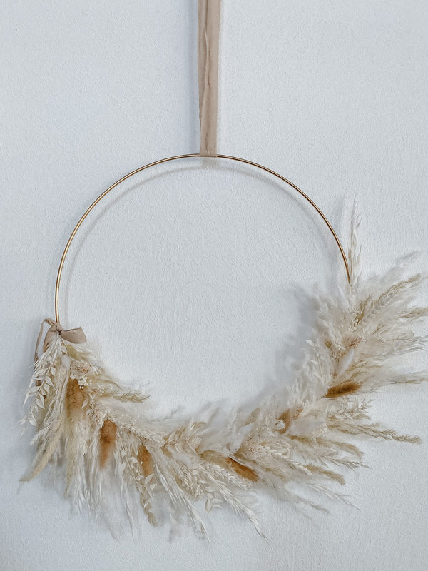 WHITE NATURE Trockenblumen Loop / gold / 30cm